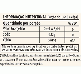 CÁLCIO DE OSTRAS 400MG (60 CAPS) - TABELA NUTRICIONAL
